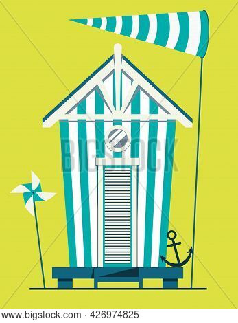 Beach House. Hut On The Coast. Vector Flat Illustration On Green Background.