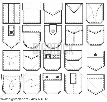 Set Of Pocket Patches. Elements For Uniform Or Casual Style Clothes, Dresses And Shirts. Vector Illu