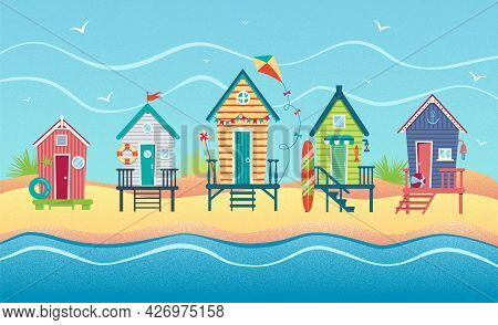 Landscape Of A Row Of Beach Huts Against Sea. Summer Holiday. Vector Flat Textured Illustration Eps1