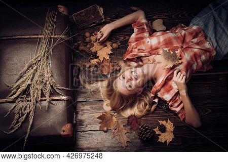 Fashion Smile Girls. Autumn Design. Hello Autumn And Dreams. Advertisement Concept. Copy Space. Autu
