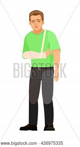 Guy Is Sick. Fracture Of Arm, Plaster Applied. Young Handsome Boy. Sad. In Jeans And T-shirt. Painfu
