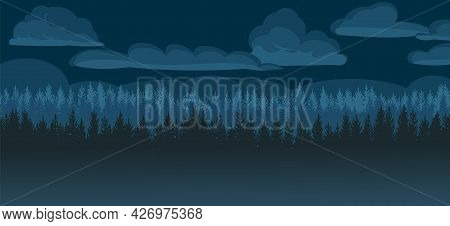 Pine Forest At Night. Silhouettes Of Coniferous Trees In The Darkness. Clouds. Dark Landscape Horizo