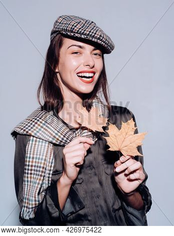 Happy Smiling Autumn Woman. Place For Your Text. Autumn Background. . Autumn Clothing And Color Tren