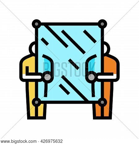 Glass Carrying Workers Color Icon Vector. Glass Carrying Workers Sign. Isolated Symbol Illustration