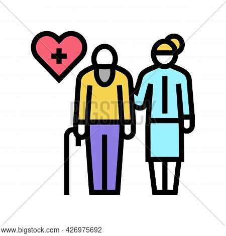 Helping And Caring For Elderly People Color Icon Vector. Helping And Caring For Elderly People Sign.