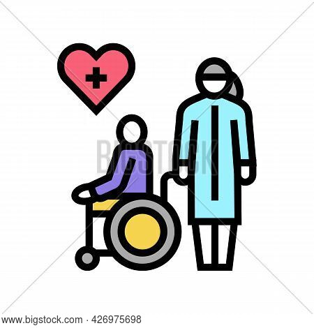 Helping And Caring For Disabled People At Home Color Icon Vector. Helping And Caring For Disabled Pe