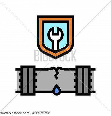 Repair Broken Pipeline Construction Color Icon Vector. Repair Broken Pipeline Construction Sign. Iso