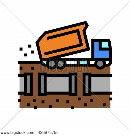 Truck Fill Up Pipeline Color Icon Vector. Truck Fill Up Pipeline Sign. Isolated Symbol Illustration