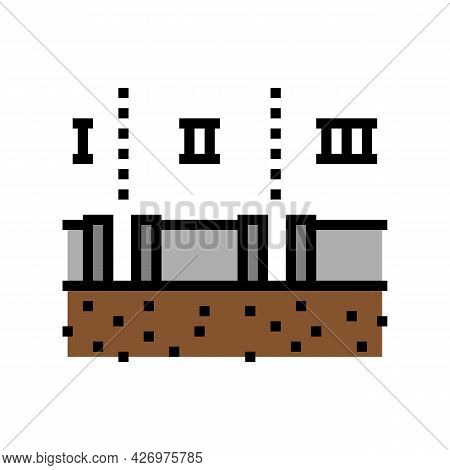 Stages Of Pipeline Construction Color Icon Vector. Stages Of Pipeline Construction Sign. Isolated Sy