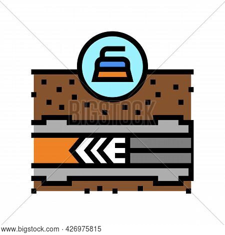 Cleaning Pipeline Construction Technology Color Icon Vector. Cleaning Pipeline Construction Technolo