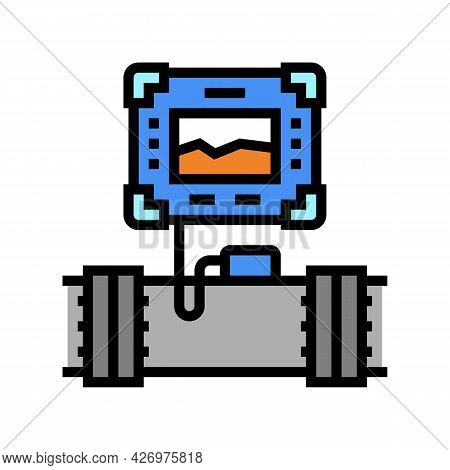 Gadget For Research Pipeline Construction Color Icon Vector. Gadget For Research Pipeline Constructi