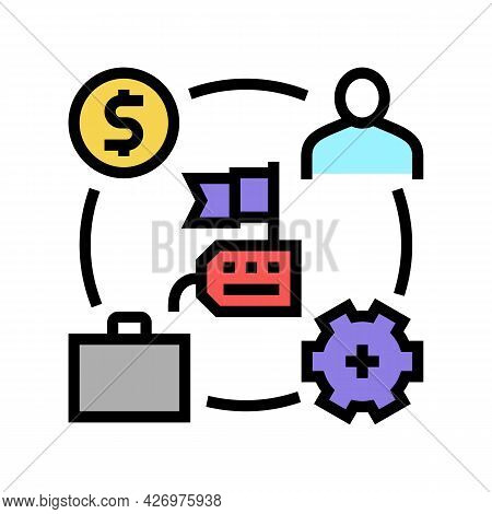 Business Process Of Reputation Management Color Icon Vector. Business Process Of Reputation Manageme