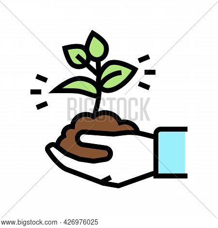 Nature Soil Holding Agricultural Worker Color Icon Vector. Nature Soil Holding Agricultural Worker S