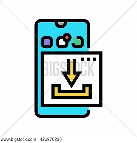 Download Mobile Phone App Ugc Color Icon Vector. Download Mobile Phone App Ugc Sign. Isolated Symbol