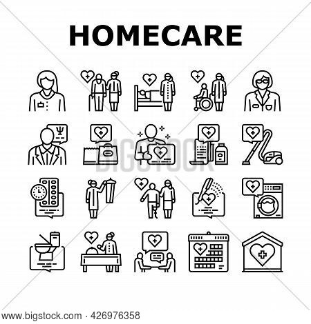 Homecare Services Collection Icons Set Vector. Volunteer Personal Care Elderly And Sick People, Dres