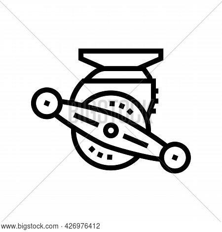 Bait Cast Reel Line Icon Vector. Bait Cast Reel Sign. Isolated Contour Symbol Black Illustration