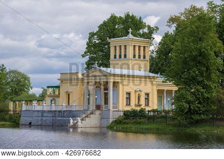Petrodvorets, Russia - May 29, 2021: The Building Of The Old Tsaritsyn Pavilion On Olgin's Pond Clos