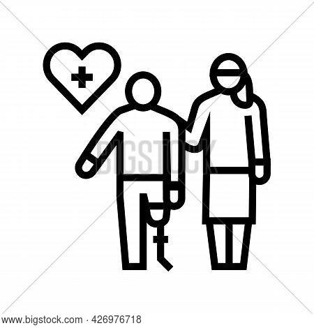 Personal Care Homecare Service Line Icon Vector. Personal Care Homecare Service Sign. Isolated Conto