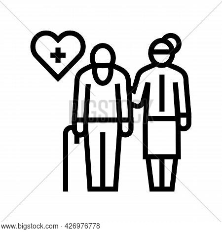 Helping And Caring For Elderly People Line Icon Vector. Helping And Caring For Elderly People Sign.