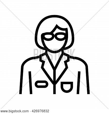 Social Worker Line Icon Vector. Social Worker Sign. Isolated Contour Symbol Black Illustration