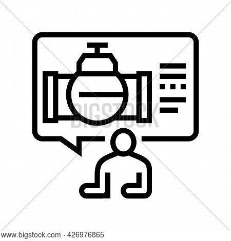 Consultation Pipeline Construction Line Icon Vector. Consultation Pipeline Construction Sign. Isolat
