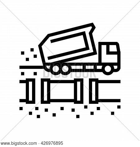Truck Fill Up Pipeline Line Icon Vector. Truck Fill Up Pipeline Sign. Isolated Contour Symbol Black