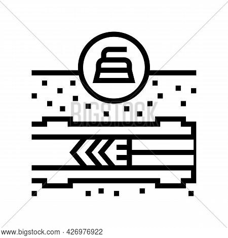 Cleaning Pipeline Construction Technology Line Icon Vector. Cleaning Pipeline Construction Technolog