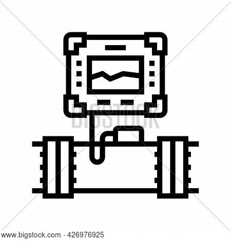 Gadget For Research Pipeline Construction Line Icon Vector. Gadget For Research Pipeline Constructio