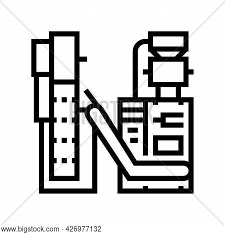 Packaging Tea Factory Machine Line Icon Vector. Packaging Tea Factory Machine Sign. Isolated Contour