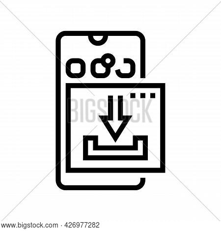 Download Mobile Phone App Ugc Line Icon Vector. Download Mobile Phone App Ugc Sign. Isolated Contour