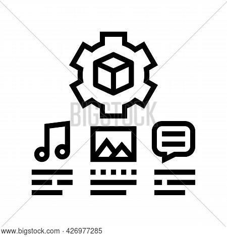 Settings Of Audio, Image And Test Ugc Line Icon Vector. Settings Of Audio, Image And Test Ugc Sign.