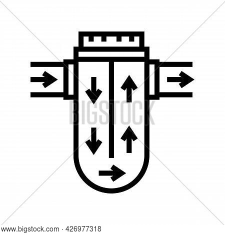 Process Of Water Filtration Line Icon Vector. Process Of Water Filtration Sign. Isolated Contour Sym