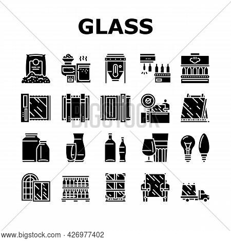 Glass Production Plant Collection Icons Set Vector. Glass Bottle And Vase, Jar And Light Bulb Manufa