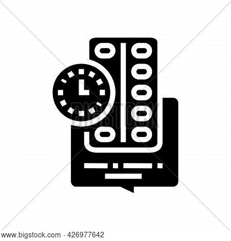 Remind To Take Pills Homecare Service Glyph Icon Vector. Remind To Take Pills Homecare Service Sign.