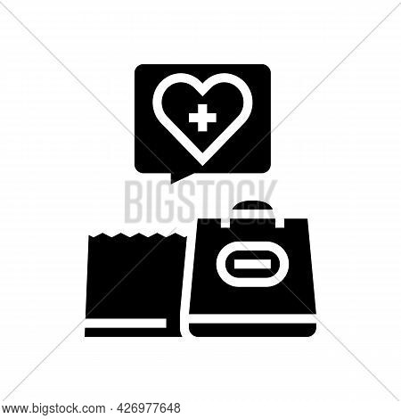 Grocery Shopping Homecare Service Glyph Icon Vector. Grocery Shopping Homecare Service Sign. Isolate