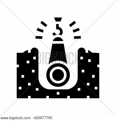 Crane Putting Pipe In Pit Pipeline Construction Glyph Icon Vector. Crane Putting Pipe In Pit Pipelin