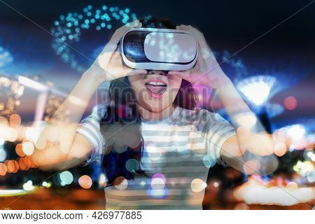 Asian Woman Is Playing Virtual Reality Goggles In Library Room, Pretty Woman Using Vr Glasses For En