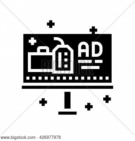 Offline Advertise Glyph Icon Vector. Offline Advertise Sign. Isolated Contour Symbol Black Illustrat