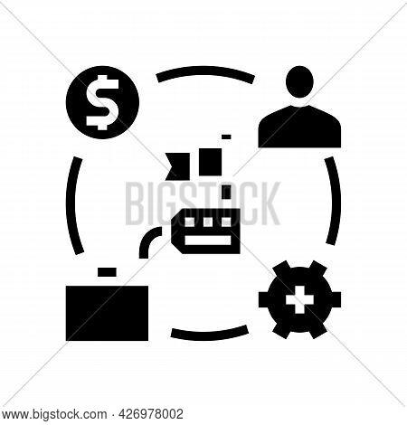 Business Process Of Reputation Management Glyph Icon Vector. Business Process Of Reputation Manageme