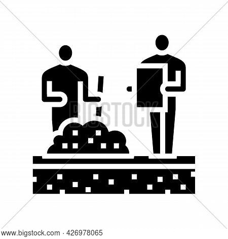 Worker Shovel Soil For Analyzing Glyph Icon Vector. Worker Shovel Soil For Analyzing Sign. Isolated