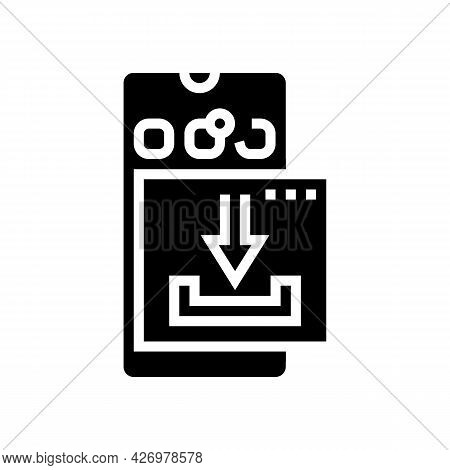 Download Mobile Phone App Ugc Glyph Icon Vector. Download Mobile Phone App Ugc Sign. Isolated Contou