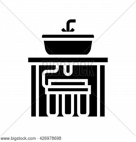 Water Filter Under Sink Glyph Icon Vector. Water Filter Under Sink Sign. Isolated Contour Symbol Bla