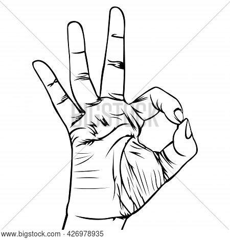 Hand Illustration. Simple Illustration. Black And White Illustration. Black Outline. Okay Finger Sym