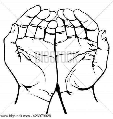 Open Palm Gesture. Open Hands. Hand Illustration. Black And White Illustration. Outline. Muslim Pray