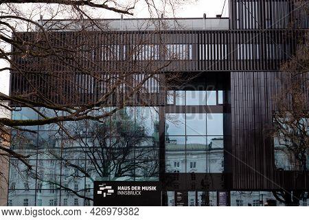 Innsbruck, Tyrol, Austria - February 8 2021: Haus Der Musik Performing Arts Complex And Event Center