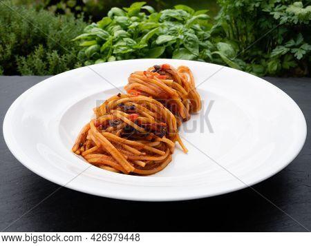 Spaghetti All'assassina Pasta, A Speciality From Bari, Puglia, Italy