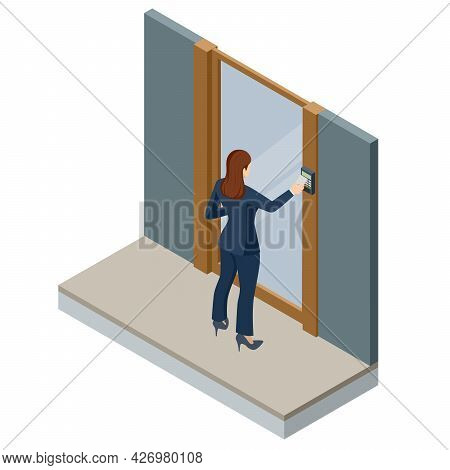 Wireless Door Lock Vector Icon, Smart Lock System. Isometric Woman Holding A Key Card To Lock And Un