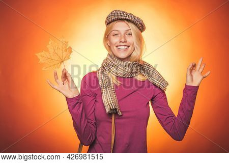 Autumn Girl Are Getting Ready For Autumn Sale. Happy Young Woman Are Preparing For Autumn Sunny Day.