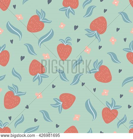 Cute Seamless Pattern With Hand Drawn Strawberries, Leaves, Flowers, Hearts In Simple, Childish, Sca