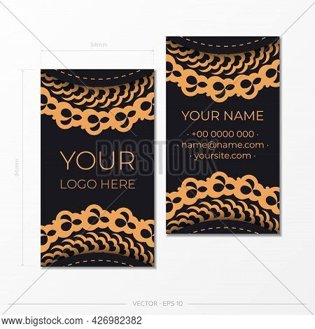 Template Black Presentable Business Cards With Decorative Ornaments Business Cards, Oriental Pattern